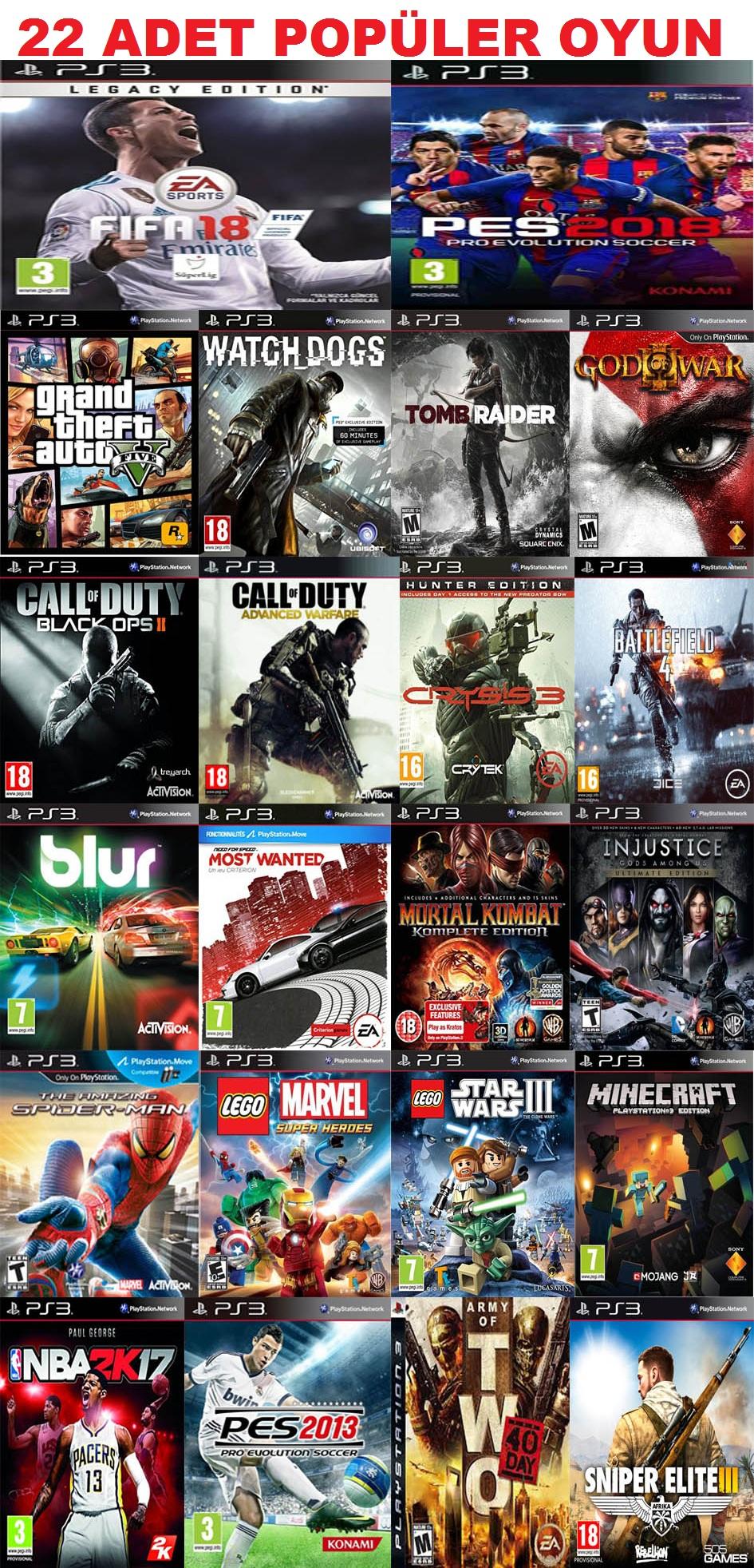 22 popüler oyun yüklü BB